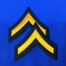 """Police Private Stripe Patches 3"""" Black With Gold Emb. Set of 2  #P17-15"""