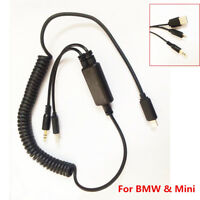 Audio Interface USB Y Cable AUX Adapter For BMW & Mini iPod iPhone 6 6S 7 7 Plus