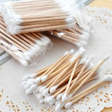 120PCS Double Disposable Cotton Swabs White Wooden Makeup Body Applicator Supply