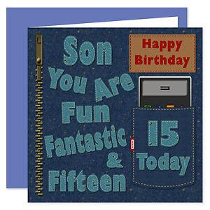 Son Happy Birthday Card - Age Range 11 - 40 Years - Denim Design