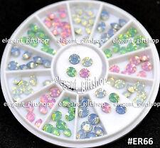 #ER66  Nail Art Tips Decoration 5mm Obaque Color Cone Shape Glitter Rhinestones
