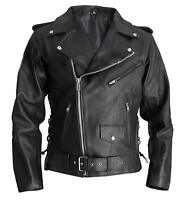 Men Jacket Terminator Stylish Brando Arnold Style Biker Real Leather Jacket