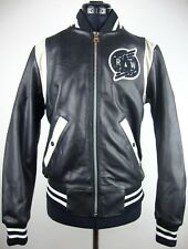 G-Star Raw Baseball ZIP BOMBER Leather Jacket Donna Giacca di Pelle Tg S Nuovo + Etichetta