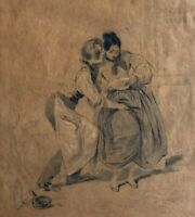 Old Pencil Antique Drawing - Dessin Ancien - Couple, Erotica, Scene de Genre