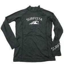 Tesla Surfvista Rash Guard Shirt Size Medium Black White Long Sleeve Mock Adult