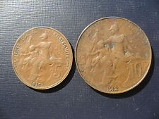 France 5 Centimes 1916 & 10 Centimes 1912. 2 Coins