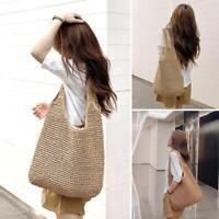 Women Straw Shoulder Bag Bucket Tote Summer Beach Woven Handmade Weaving Handbag