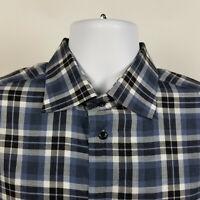 St. Croix Blue Windowpane Check Plaid Mens Dress Button Shirt Size LT Large Tall