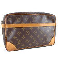 Auth LOUIS VUITTON Compiegne 28 Clutch Bag Cosmetics Purse Monogram M51845 Brown