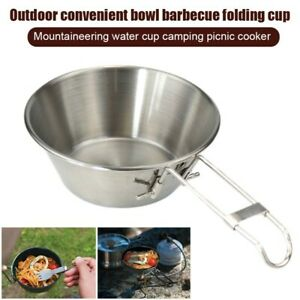 300ml Outdoor Camping Bowl Portable Stainless Steel Rice Bowl with Folding