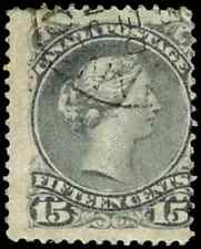 Canada #30 used VG-F 1868 Queen Victoria 15c grey Large Queen CDS CV$22.50