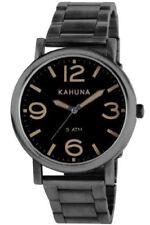Kahuna Mens Gents Wrist Watch Black Dial Analogue Silver Bracelet KGB-0002G