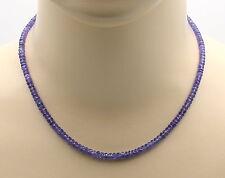 Tansanit Kette facettiert - violett-blaue Tansanit Halskette für Damen 44,5 cm