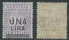 1925 REGNO SERVIZIO COMMISSIONI 1 LIRA SU 90 CENT VARIETà MNH ** - W276