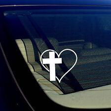 """CROSS HEART Vinyl Decal Sticker Car Window Wall Bumper Jesus God Heart Love 3.7"""""""