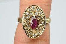 Women's .56 ct Diamond & Ruby Vintage Restored Flat Original Cluster 1940's Ring