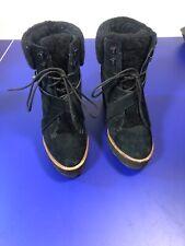Coach Kenna wedge Heel boots Black Suede Shearling Booties Women's Size 8 B