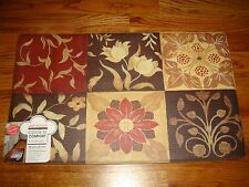 "Anti Fatigue Cook N' Comfort Kitchen Floor Mat Rug 18""x30"" FLORAL Vine SQUARES"