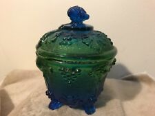 Vintage Depression Blue/Green Glass Sugar Bowl with Lid Grapes & Leaves