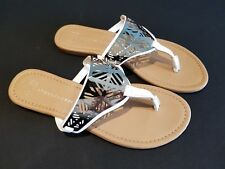 Atmosphere size 7 (40/41) white faux leather silver toe post sandals flip flops