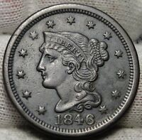 1846 Large Cent Penny, Braided Hair Penny - Nice Coin Free Shipping  (5212)