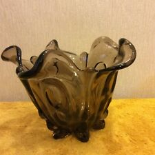 "Vintage Tulip Shaped Smoked Glass Plant Pot/Vase, 6"" Tall (326)"