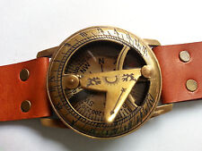 Vintage style Marine Nautical Brass Sundial compass Wrist Watch Type sb59
