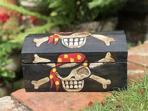 LARGE Pirate Box Treasure Chest Wooden Vintage Trinket Storage Box. Length 30cm