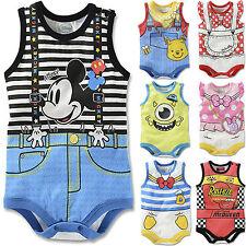 Summer Baby Infant Boys Girls Cartoon Cute Bodysuit Jumpsuit Romper Outfits UK