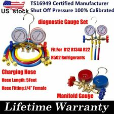 R12 R134A R12 R22 R502 HVAC A/C Refrigeration Charging Kit Manifold Gauge Set US
