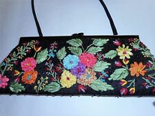 SANTI Black,Pink,Yellow,Green Floral Embrodery Wedding/Prom/Party Clutch Handbag