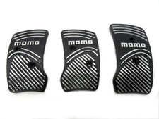 Black Silver Aluminium Non Slip Sport Pedal Brake Pad Covers Manual Car 3 PCS
