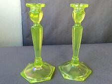 "Antique Fenton Iridescent Topaz Vaseline Glass  8 1/2"" Tall Candlesticks #449"