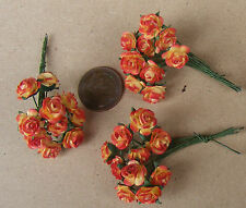 1:12 Scale 3 Bunches (30 Flowers) Of Red Paper Roses Tumdee Dolls House D