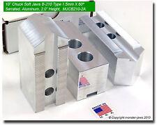 "10"" Aluminum Soft Jaws 1.5mm x 60° Serrated for B-210 Type Lathe Chucks (2.0 HT)"