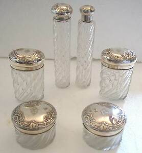 ANTIQUE 6 CHRYSTAL AND SOLID SILVER 800 REPOUSSE STOPPERS DRESSER JARS