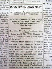 1934 newspaper MARY PICKFORD MARRIAGE TROUBLE w DOUGLAS FAIRBANKS running around