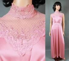 Vintage High Collar Dress Sz S 70s Mauve Pink Sleeveless Lace Mesh Disco Costume