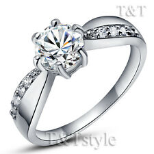 TT 18K White Gold GP Engagement Wedding Ring (RF10)