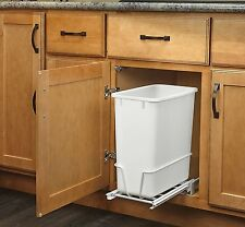 20-Quart White Trash Can Kitchen Waste Bin Garbage Pull Out Undercounter Cabinet
