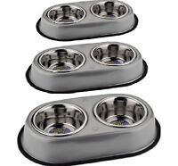 DOUBLE DINER SET - (S / M / L) - Non-Slip Dog Cat Food Water Bowls dm Metal Dish