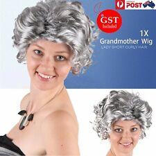 Grandmother Wig Grey Silver Curls Grandma Granny Old Lady Woman Costume Party AU