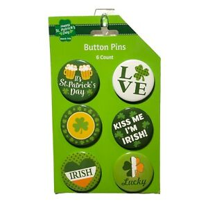 St. Patrick's Day Pin Back Button Badges 6 Pcs Green Multi Color Not A Toy
