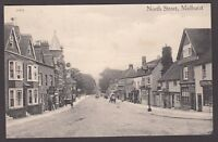 Postcard Midhurst Sussex shops and Post Office in North Street posted 1910