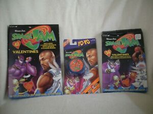 2 DIFFERENT BOXES OF SPACE JAM VALENTINES & SPACE JAM Y0-YO ON CARD 1996 UNUSED!