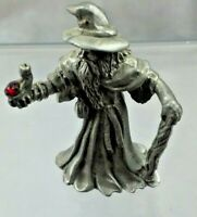 Vintage Pewter wizard with walking staff and red crystal