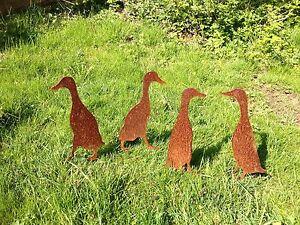 EDELROST Laufentenfamilie Ente Tier Skulptur Rost Gartendeko Edel Metall NEU