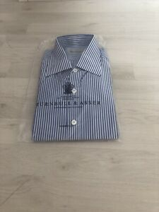 Turnbull And Asser Shirt Double Cuff 15 Blue White Stripe New