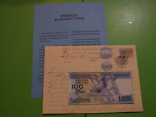 PORTUGAL 100 ESCUDOS BANKNOTE COVER SERIAL NUMBER,  FIL 001107 , SEE POSTAGE