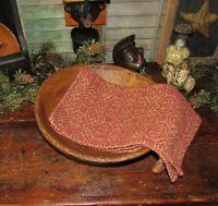 Prim Antique Vtg Style Pebble Brook Red Tan Cotton Woven COVERLET RUNNER RQ2RSR